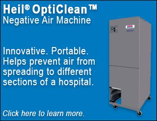 The Heil OptiClean negative air machine helps prevent air from spreading to different sections of a hospital. Potential future uses include homes, businesses, and assisted living facilities. Click here to learn more.
