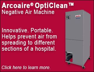 The Arcoaire OptiClean negative air machine helps prevent air from spreading to different sections of a hospital. Potential future uses include homes, businesses, and assisted living facilities. Click here to learn more.