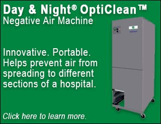 The Day & Night OptiClean negative air machine helps prevent air from spreading to different sections of a hospital. Potential future uses include homes, businesses, and assisted living facilities. Click here to learn more.