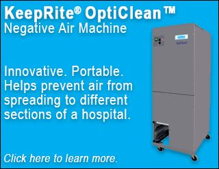 The KeepRite OptiClean negative air machine helps prevent air from spreading to different sections of a hospital. Potential future uses include homes, businesses, and assisted living facilities. Click here to learn more.